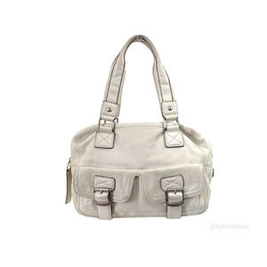 Michael Kors White Pebbled Leather Satchel